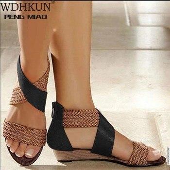 WDHKUN Fashion New Fish Mouth Leather Canvas Women Weave Wedge Heel Shoes Zipper Sandals Casual Beach Sandals Roman Shoes