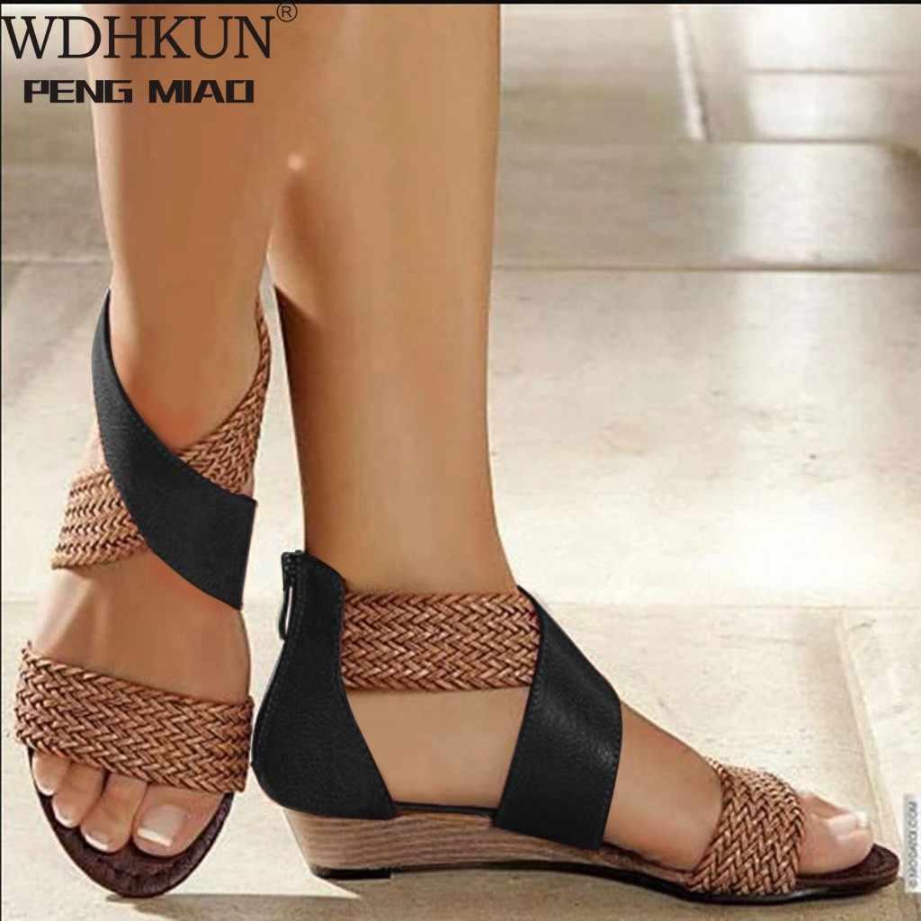 WDHKUN moda yeni balık ağız deri tuval kadın örgü kama topuk ayakkabı fermuar sandalet rahat plaj sandaletleri roma ayakkabı