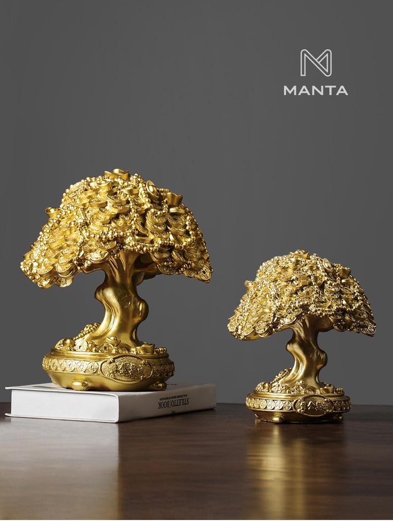 Lucky tree escultura casa estátua resina dinheiro