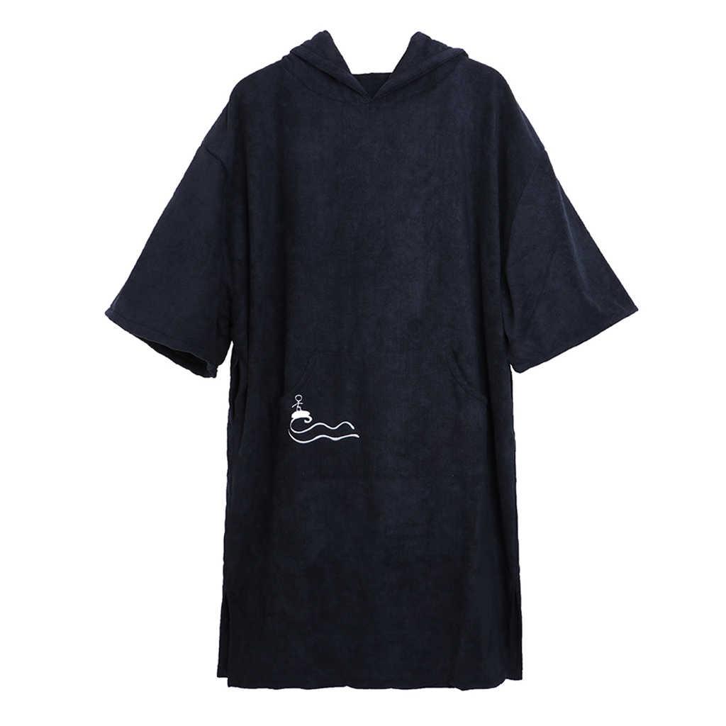 유니섹스 성인 긴 소매 서핑 가운 비치 판초 후드 목욕 가운 안티 uv 비치 수영 목욕 슈트 타월 바람 보호