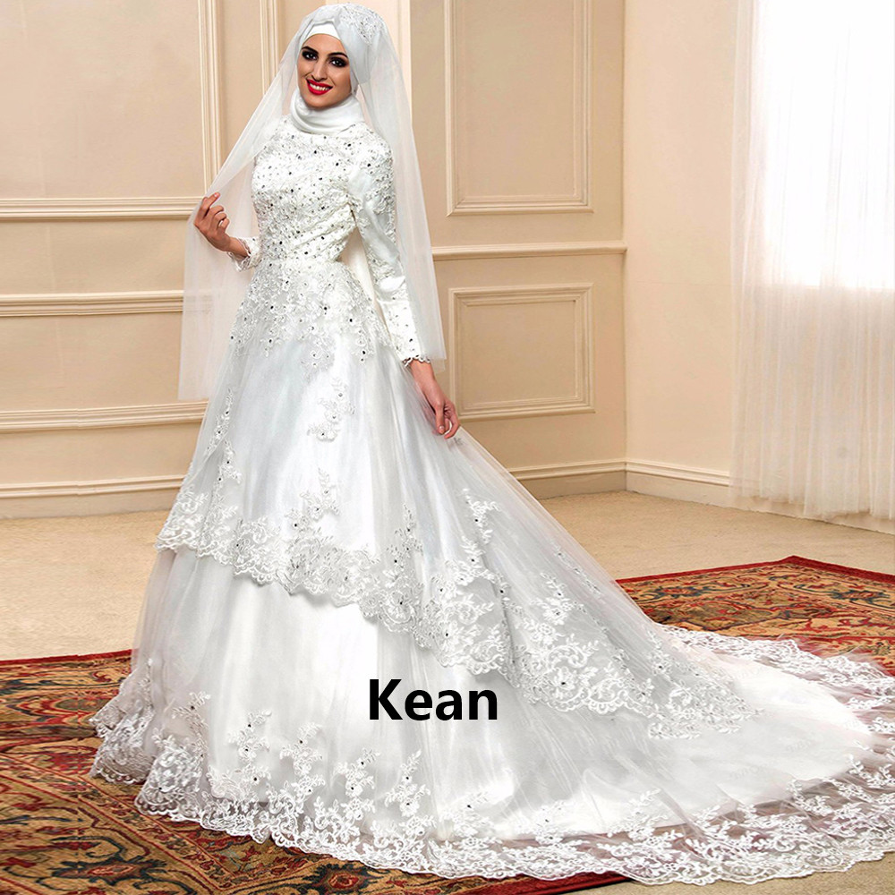 Lace Muslim Wedding Dress Applique Full Sleeve Scarf  Ruffle Court Train Dubai Arabic Robe De Mariee Custom Made New Arrival