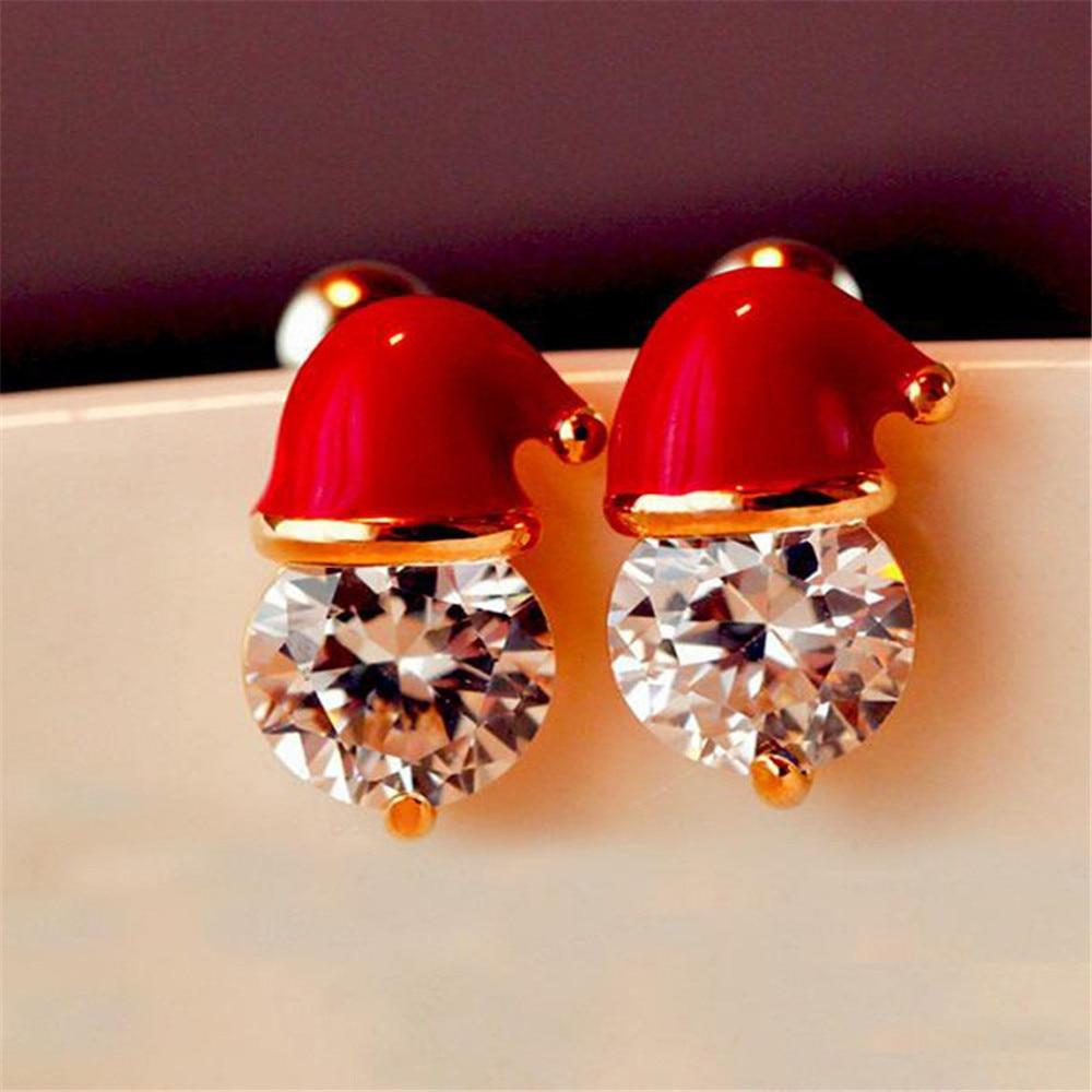 Nice Christmas Santa Hat Ear Stud Xmas Cubic Zirconia Earrings Secret Party For Women Girls Gift New Happy New Year 2020