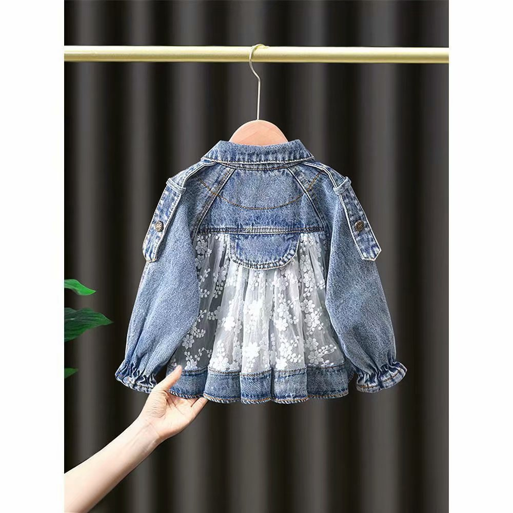 New Children's Denim Jackets Girl Trench Jean Embroidery Jackets Girls Kids clothing baby Lace coat Casual outerwear Windbreaker