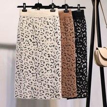 Invierno cálido y Sexy Leopardo de Cachemira de punto Mediados de lápiz faldas otoño apertura en la espalda Stretch Tube becerro faldas largas caqui Beige
