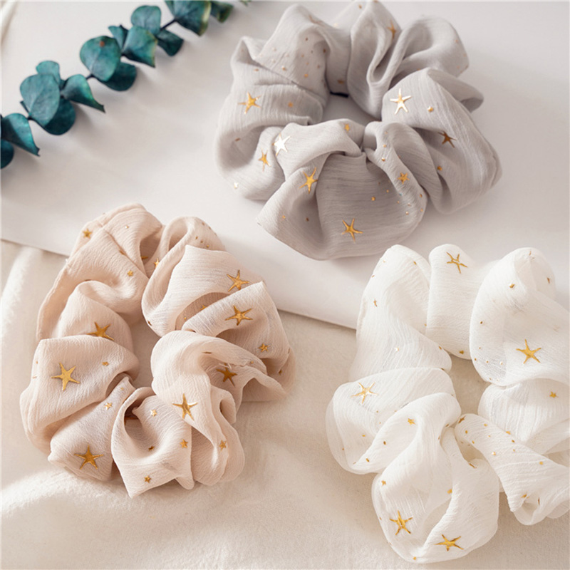Oversized French Organza Hair Scrunchies Elegant Star Chiffon Women Elastic Hair Bands Girls Hair Ties Stretch Ponytail Holder