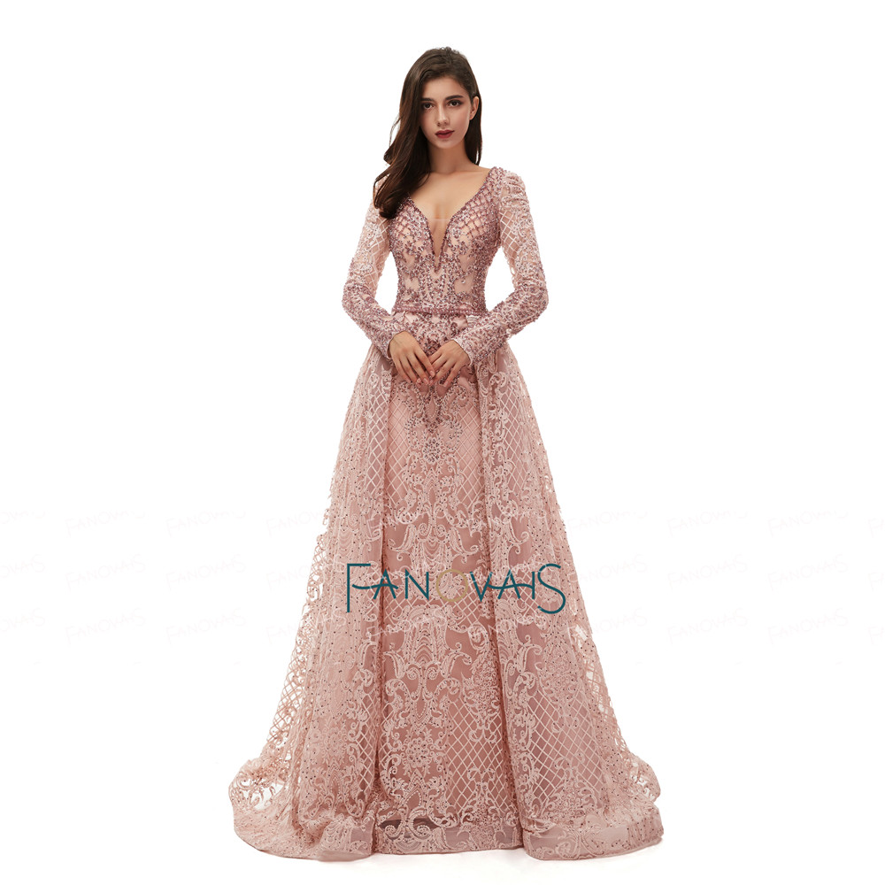 Image 2 - Luxury Dubai Evening Dresses Long Sleeves V Neck Sheer Top Beaded Prom Dress 2019 Crystal evening Gown Lace Vestido de FiestaEvening Dresses   -