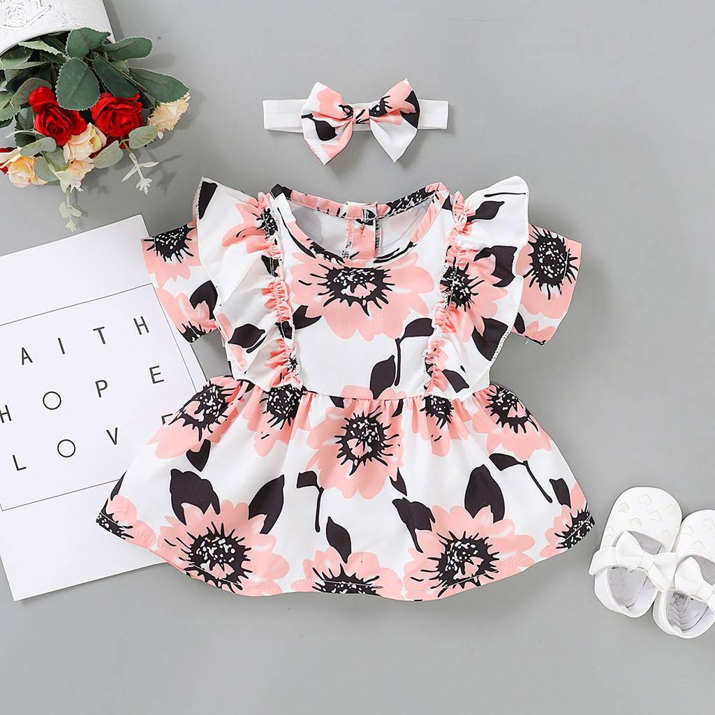 Kids Infant Baby Girl Long Sleeve Letter Floral Dress Daliy Casual Party Dresses