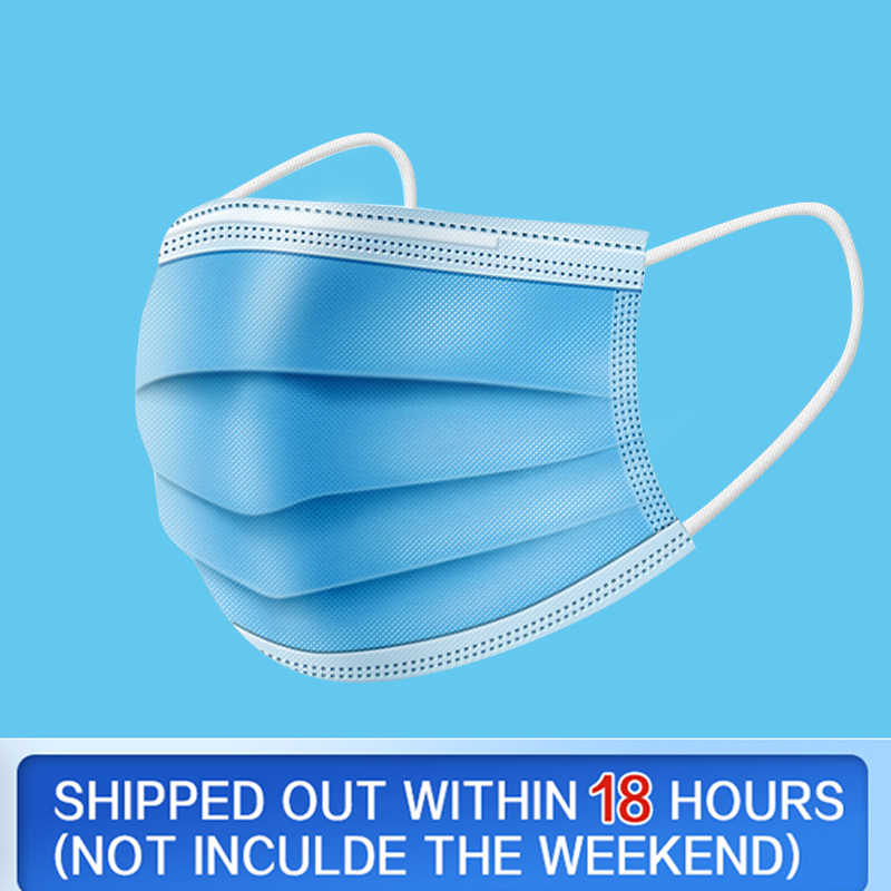 50pcs 100pcs 3 Layers Face Masks Non Woven Disposable Face Mask Ear Loop Mouth Mask
