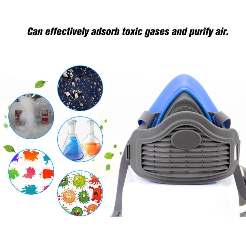 Half Face Gas Mask KN95 PM2.5 Gas Protection Filter Respirator Dust Cover Mouth Mask Respiratory Dust-proof Industrial Safety