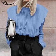 Стильная блузка Celmia с оборками, женские блузки, летние прозрачные белые кружевные рубашки с длинным рукавом, элегантные офисные плиссированные блузки для женщинРубашки    АлиЭкспресс