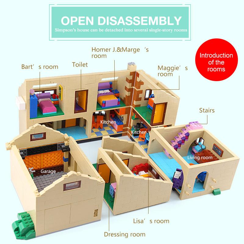 2575 Uds. Juguetes de película 16005 Simpsons bloques de construcción de Casa bloques compatibles lepining 71006 modelos de juguetes para niños regalo de cumpleaños - 6