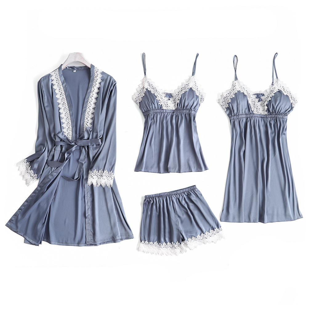 Gray 4PC Pajamas Strap Sets Womens Lace Top Pants Sleepwear Suit Spring Autumn Home Wear Nightwear Sexy Faux Silk Robe Bath Gown