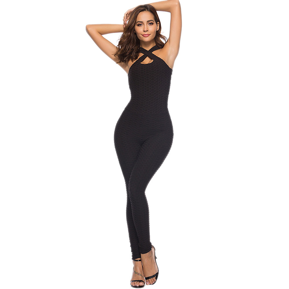 New Bodycon Long Jumpsuits Women Texture Fitness Party Rompers Jumpsuits Sleeveless Backless Strapless Playsuits
