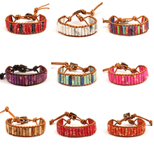 Bohemian tiger eye Amazon crystal natural stone beads leather winding line bracelet handmade jewelry retro