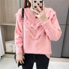 Женский пуловер rugod однотонный в японском стиле с круглым