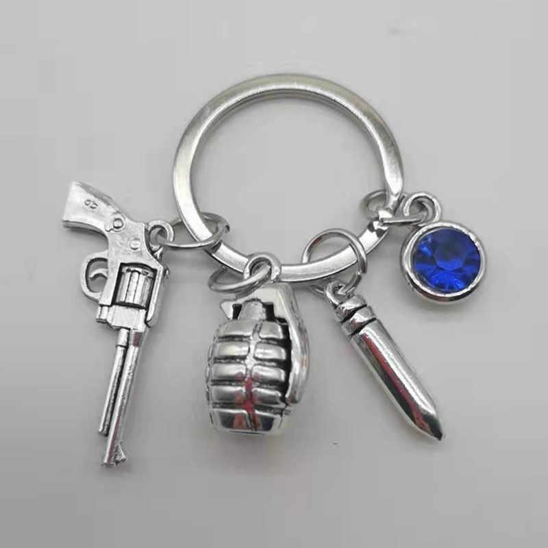 3D סימולציה תליון Keychain גברים של מתכת אקדח, רימון, Bullet דגם מפתח טבעת רכב Keychain