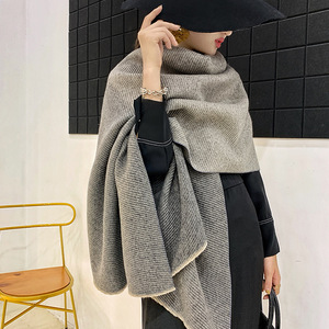 Image 5 - אופנה חורף קשמיר צעיף לנשים להתקמט חיג אב חם פשמינה צעיפים מוצק צבע מטפחת וכורכת ליידי צעיפים