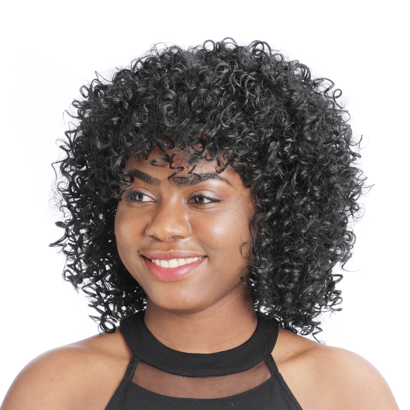 """ZM 14"""" Short Afro Wig Black Synthetic Kinky Curly Wigs for Women Fluffy African American Natural Black Hair Heat Resistant Fiber"""