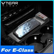 Vtear coche cargador inalámbrico QI para Mercedes Benz Clase E W212 accesorios Interior de 15W rápido teléfono placa de carga 2015-2010