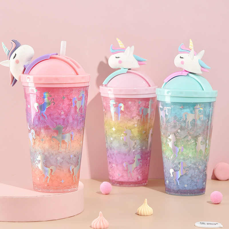 Unicorn Creative Water Bottle Straw Type with Lid Summer Large Capacity Student Cute Ice Cup Plastic Female Cartoon