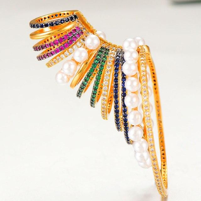 GODKI 1PC Famous Design Ear Bone Cuff Earring For Women Full Mirco Paved Micro Zircon Wedding Earring Fashion Jewelry 2020