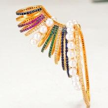 GODKI pendiente de aro con hueso del oído para mujer, 1 pieza, diseño famoso, Micro Circonia cúbica, para boda, joyería 2020