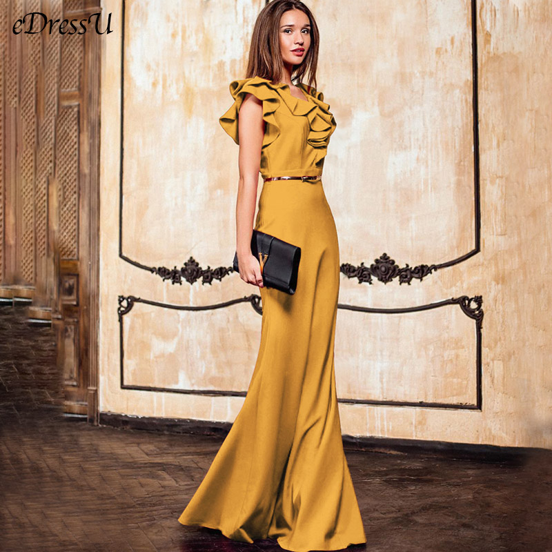 Elegant Evening Dress Long Maxi Dress Mermaid Robe De Soiree Ruffles Yellow Green Women Autumn Dress Vestido De Fiesta MC-2870