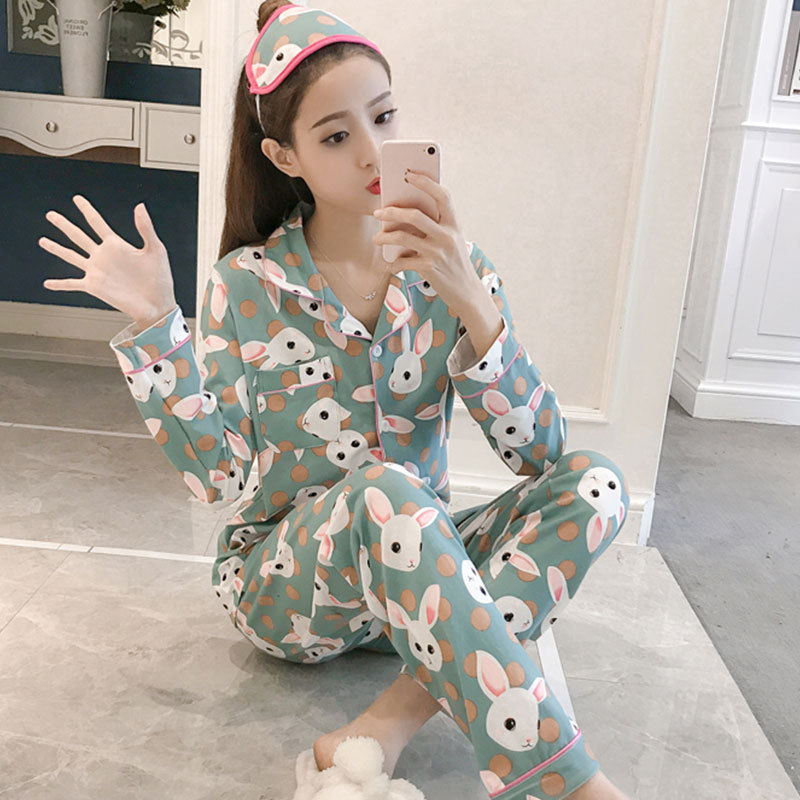 Cartoon Cute Green Rabbit Pajamas Women Long Sleeve Cardigan Spring And Autumn Home Wear Fold-down Collar Women's Plus-sized Loo
