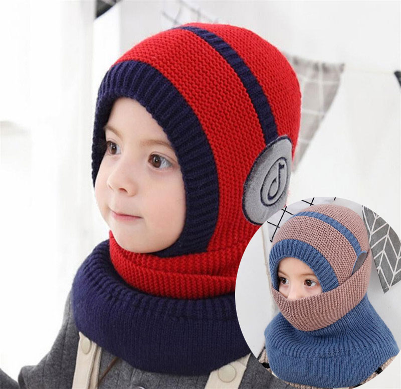 2019 Girl Knit Hooded Scarf Kids Hat And Scarf Child With Mask Winter Warm Protection Ear Cap Circulal Scarves Patchwork Design
