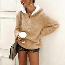 купить Women Fleece Hoodies 2019 Casual Solid Long Sleeve Hooded Pullover Sweatshirt Female Autumn Winter Zipper Pocket Warm Coat дешево