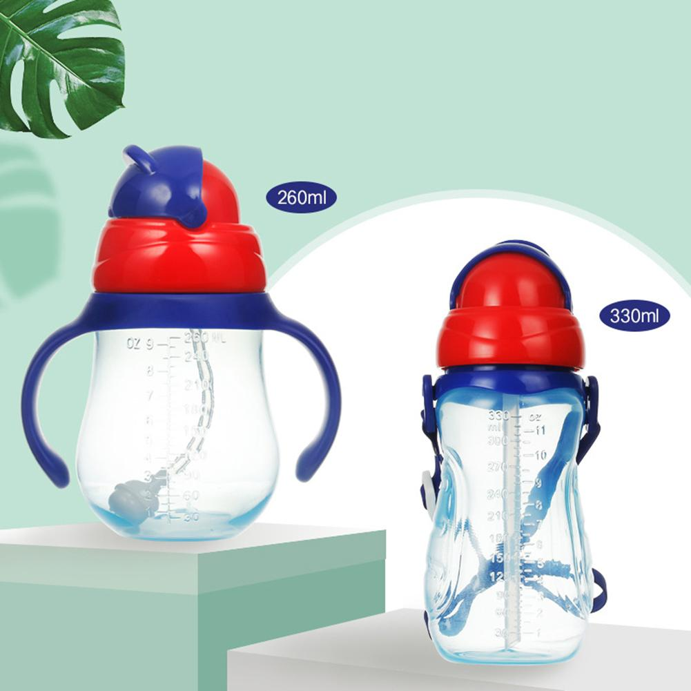 260/330ml Portable Newborn Baby Water Bottle Leak Proof PP Drinking Water Bottle Straw Cup With Handles Baby Drink Cup