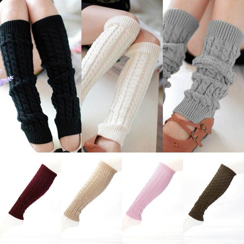 Горячая Распродажа, модные гетры для женщин, однотонные Теплые Зимние гетры до колена, вязаные, вязаные, теплые гетры, теплые сапоги, манжеты...