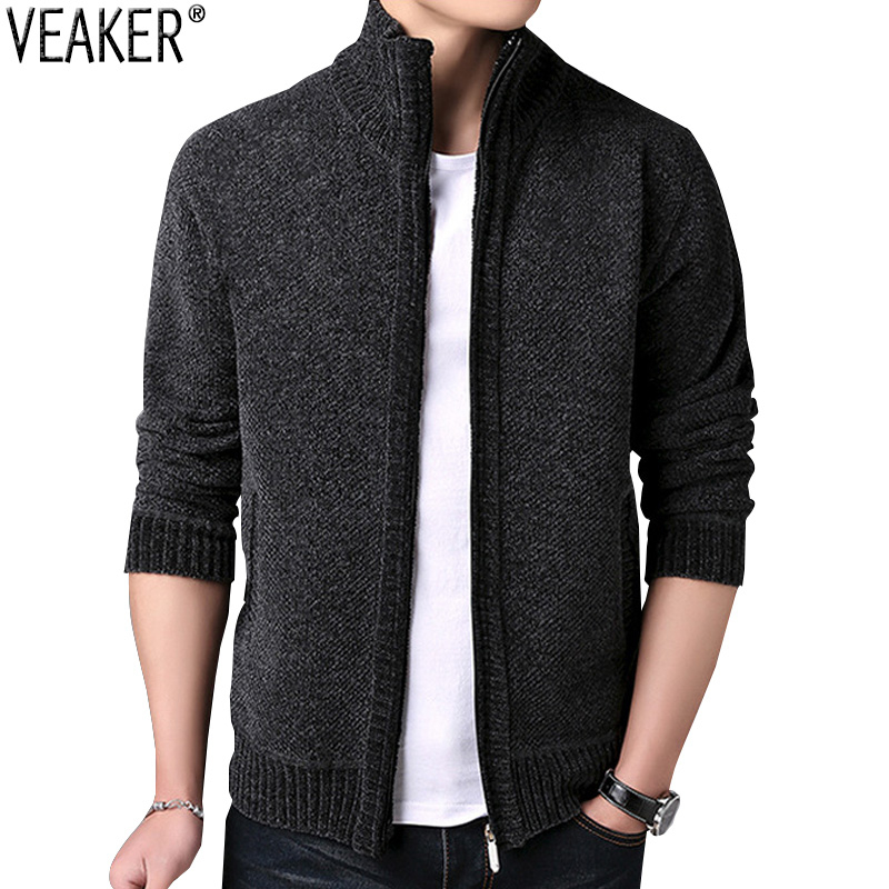 2019 New Men's Sweaters Male Autumn Winter Thick SweaterCoat Zipper Knitted Sweater Jackets Men Cashmere Knitwear Coat M-3XL