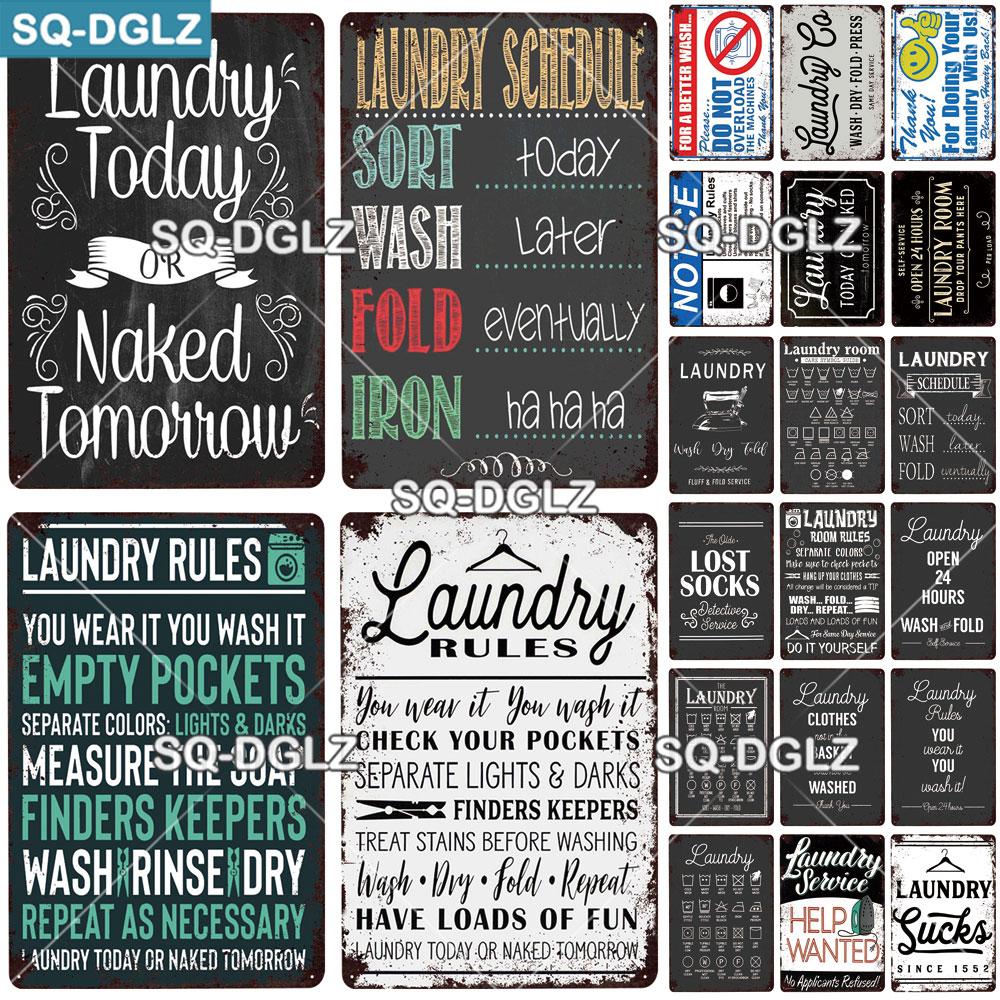 [SQ-DGLZ] regras de lavanderia placa de metal sinal de estanho do vintage cartaz decoração da parede fo bar pub homem caverna placa decorativa decoração casa