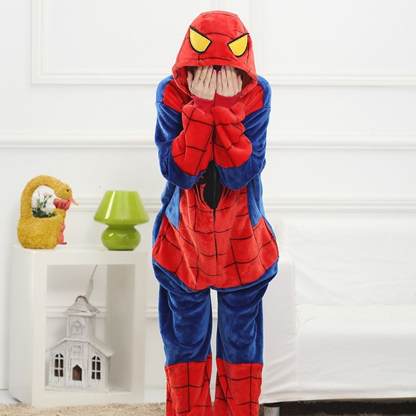 Adults Animal Pajamas Sets Cartoon Sleepwear Cosplay Zipper Women Men Winter Unisex Flannel Spiderman Pajamas