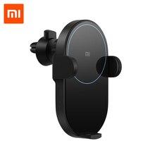 Original xiaomi sem fio carregador de carro inteligente sensor infravermelho qi carregamento rápido mi suporte do telefone carro wcj02zm 20w max para iphone