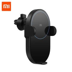 Image 1 - Оригинальное беспроводное автомобильное зарядное устройство Xiaomi с интеллектуальным инфракрасным датчиком, Быстрая Зарядка Qi, автомобильный держатель для телефона Mi WCJ02ZM 20 Вт Max для iPhone