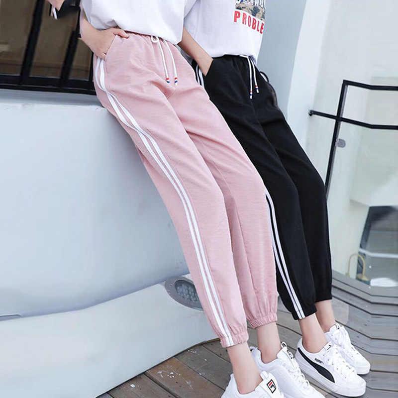 Pantalones Deportivos Para Mujer Hasta El Tobillo Coreano Estudiante Harajuku Bf Tendencia Delgada Haren Sueltos Ins Beam Feet De Verano Pantalones Y Pantalones Capri Aliexpress