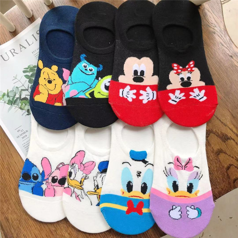 Disney Women Socks Cartoon Animal Mickey Mouse Socks Cute Kawaii Ankle Socks Invisible Silicone Slip Socks Girl Cotton Boat Sock