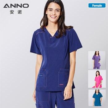 ANNO Non-stick Hair Scrubs Set Elasticity Nurse Uniform Slim fit Nursing Dress Pet Hospital Staff Cloths Veterinary Work Wear