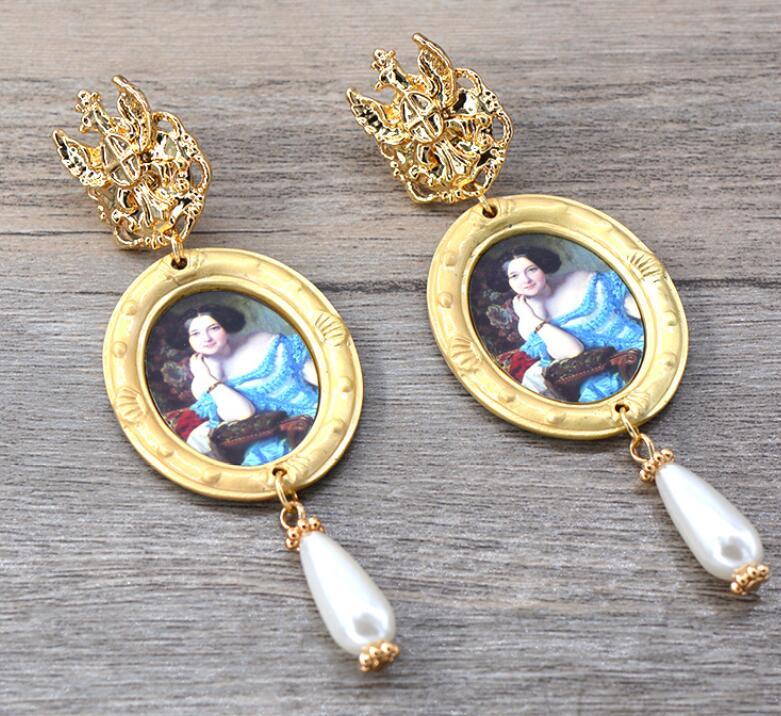 Леди королева Камея висячие серьги жемчужная подвеска винтажный вид фигура модные ювелирные изделия для женщин - Окраска металла: style 2