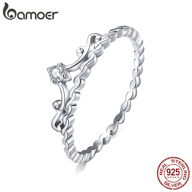Bamoer 925 Sterling Silver Royal Crown Finger Rings For Women Delicate Sparkling CZ Wedding Engagement Band Jewelry 2020 BSR099