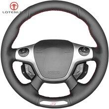 LQTENLEO черная искусственная кожа DIY Ручная прошитая крышка рулевого колеса автомобиля для Ford Focus 3 ST 2012