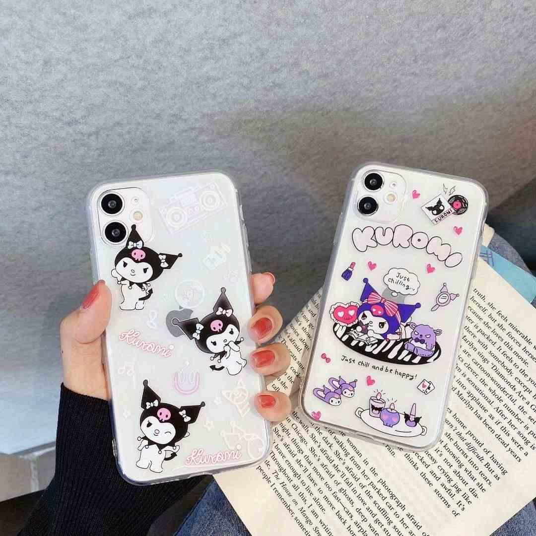 Japonia Anime Kuromi moja melodia słodkie dziecko różowa fioletowa skrzynka dla iPhone 11 Pro MaX XR XS Max skrzynka dla iPhone X 8 7 6 miękka tylna okładka