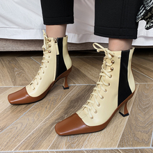 Plus Size 34-43 Genuine Leather Winter Square Toe Ankle Boots Women Lace Up 2020 OL Booties Ladies High Heels Shoes Woman Boots women high heels black genuine leather ankle lace up shoes woman high heels round toe autumn womans shoes yl02 muyisexi