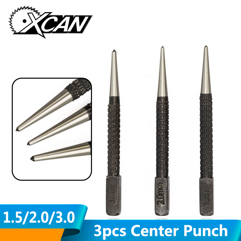3pcs 1.5/2.0/3.0mm Carbon Steel Center Punch Drill Marking Drilling Tool Cylinder Drill Automatic Center Pin Punch