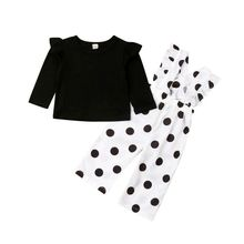 2pcs Kids Baby Girl Clothes Long Sleeve T-shirt Tops +polka Long Pants Outfits
