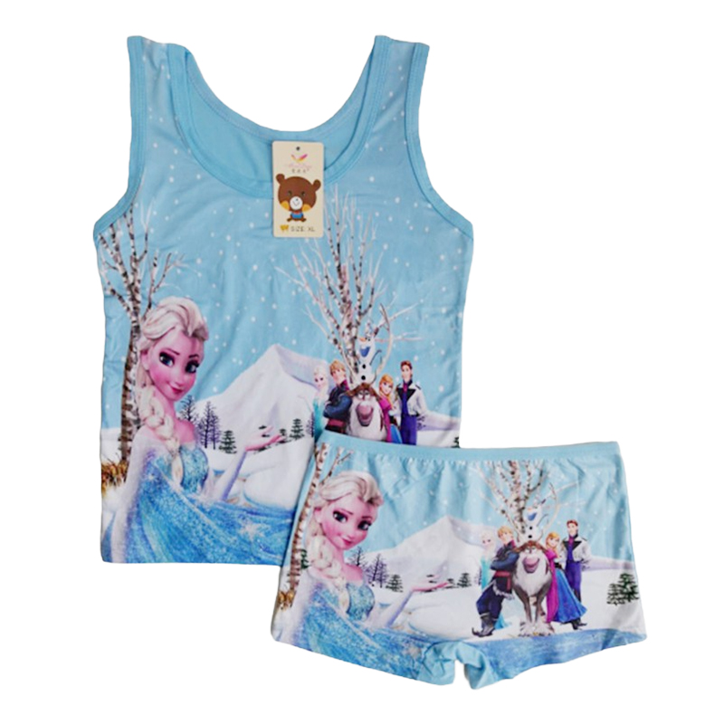 Summer 2020 Kids Girls Pajamas Clothes Set Casual Sleepwear Anna Elsa Anime Cosplay Costume Children Vest Short + Pants Outfit