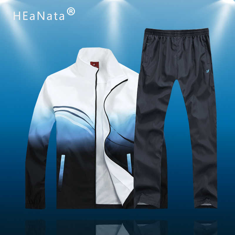 Nieuwe Mannen Sport Sets Mode Multicolor Contrast Herfst Lente Sporting Suit Sweater + Trainingsbroek Heren Running Kleding 2 Stuks