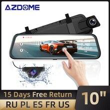 """AZDOME PG02 10 """"Toque Espelho Traço Cam ADAS De Mídia Streaming Dual Lens Invertendo Câmera de Visão Noturna Carro 1080P gravador para Uber"""